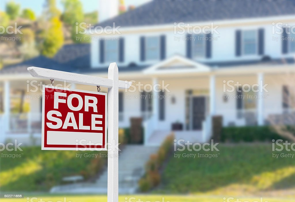 Home For Sale Sign in Front of New House Home For Sale Real Estate Sign in Front of Beautiful New House. 2015 Stock Photo