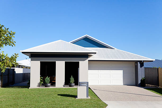 Home front with blue sky copy space stock photo