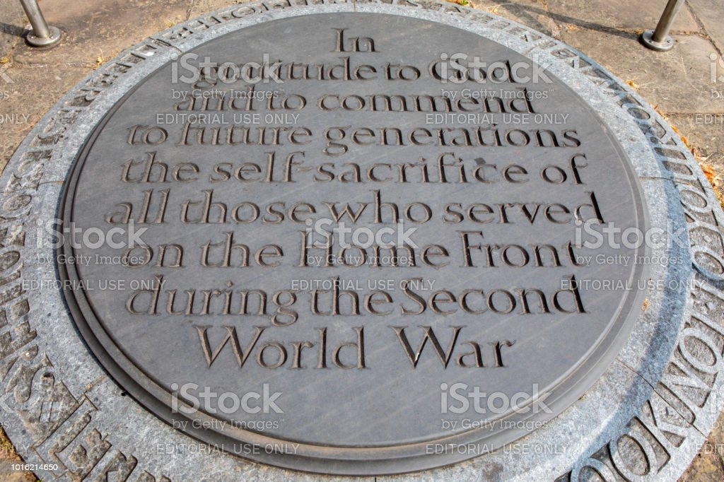 Home Front WW2 Plaque at Coventry Cathedral in the UK stock photo