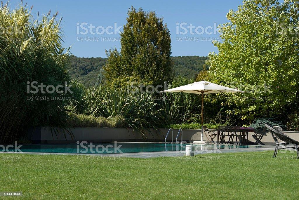 Home garden and swimming pool, Turkey, Istanbul, Zekeriyaköy stock photo