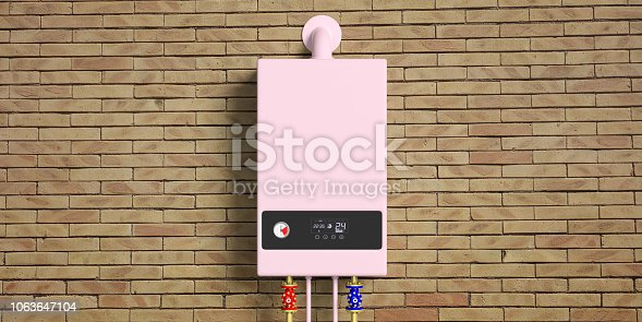istock Home gas boiler, water heater isolated on brick wall, front view. 3d illustration 1063647104