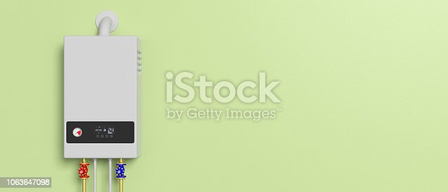 istock Home gas boiler, water heater isolated on green background. 3d illustration 1063647098