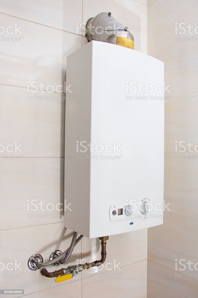 Home Gas Water Heater Boiler In Bathroom For Hot Water Stock Photo ...