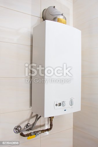 istock Home gas water heater  boiler in bathroom for hot water 623940856