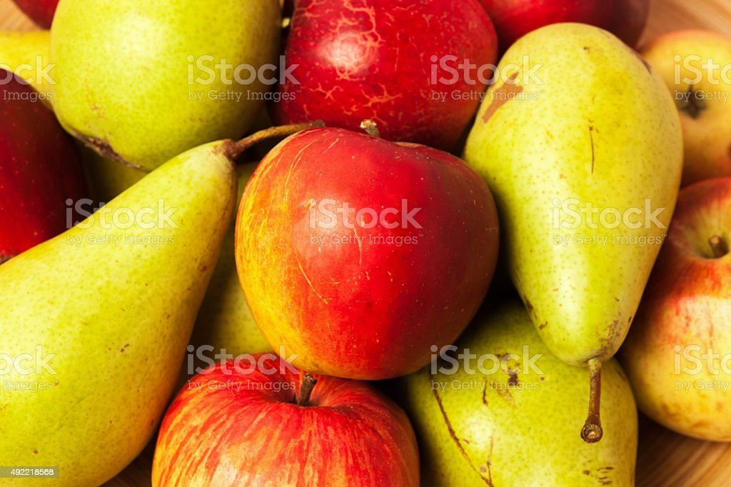 Home grown apples and pears stock photo