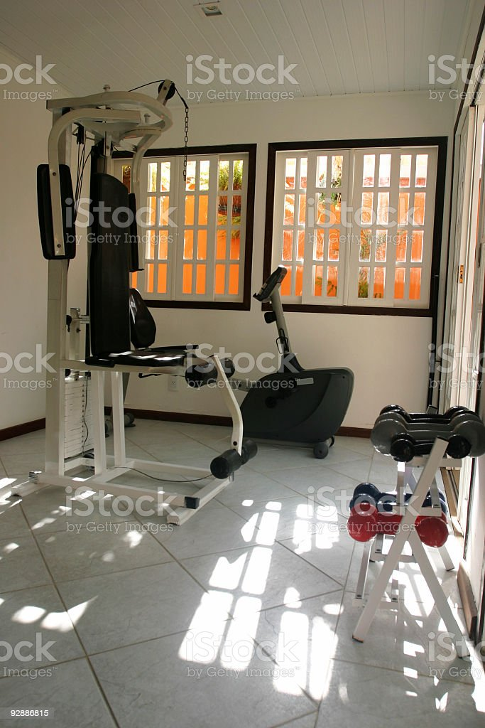 Home gym in a sunny day royalty-free stock photo