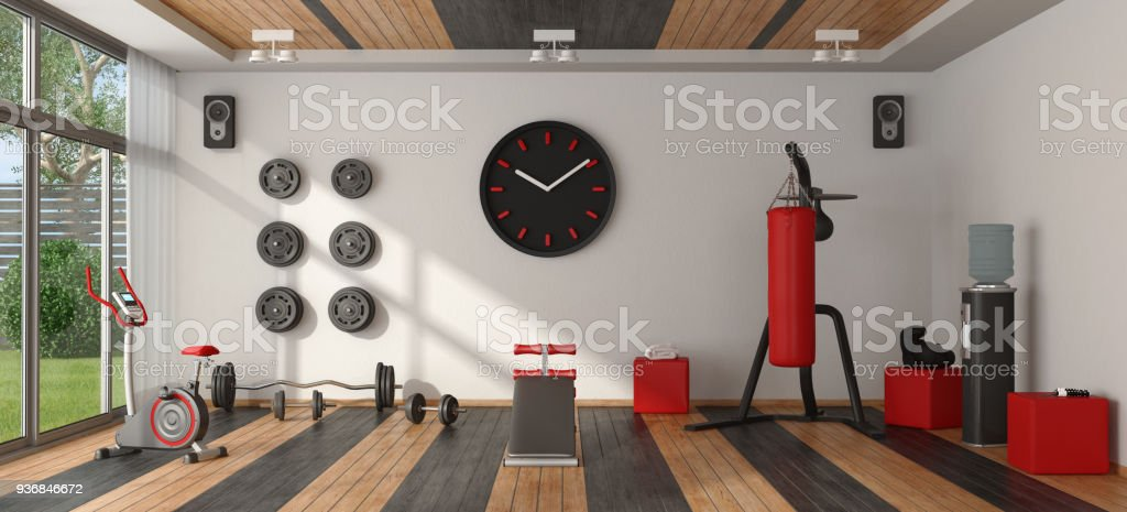 Home gym with sport equipment - foto stock