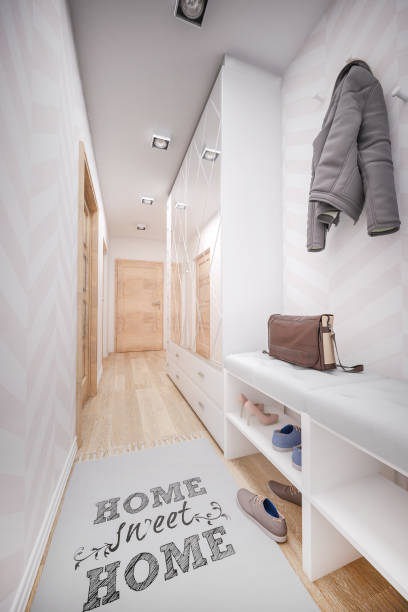 Home hallway render of interior narrow stock pictures, royalty-free photos & images