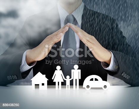 istock home, health, car, insurance concept with businessman 836406250