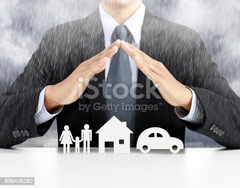 istock home, health, car, insurance concept with businessman 836406282