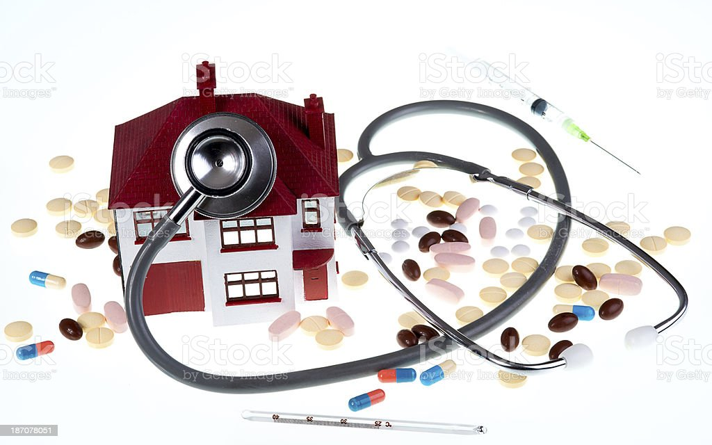 Home Health Care Check with Medicine Tablets and Supplements royalty-free stock photo
