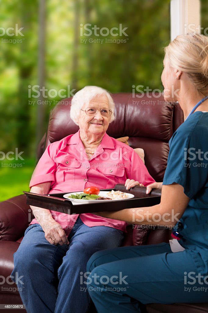 Home healthcare nurse with senior adult patient. Meal. stock photo