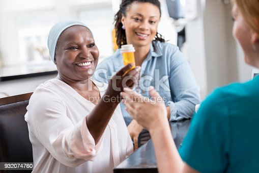 932074776istockphoto Home healthcare patient holds prescription medication 932074760