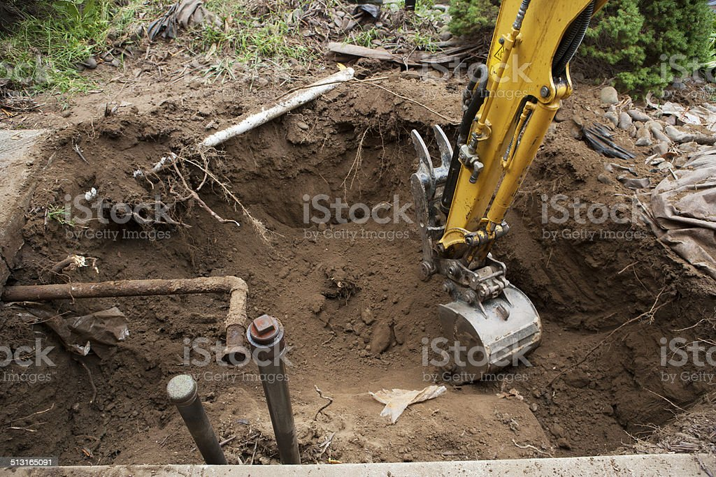 Home heating oil storage tank removal stock photo