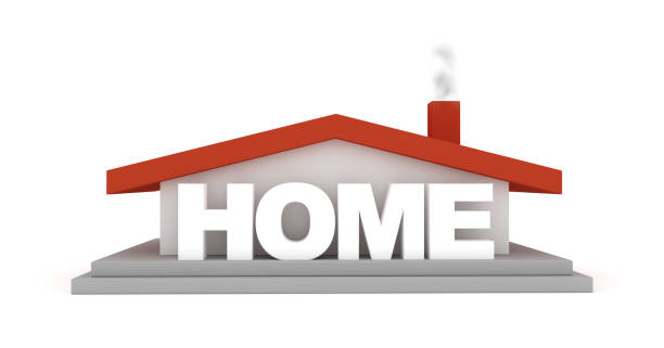 Home house sign 3D render stock photo