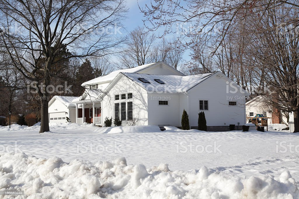 Home House Winter Snow Plowed Suburban Neighborhood royalty-free stock photo