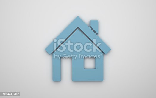 istock Home icon 3d - blue 536091787