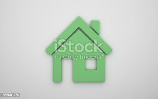 464482634 istock photo Home icon 3d - green 536091789