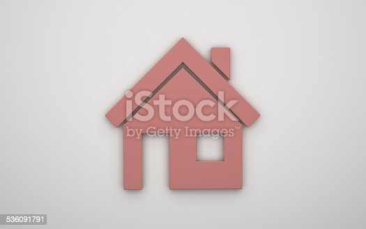 464482634 istock photo Home icon 3d - red 536091791