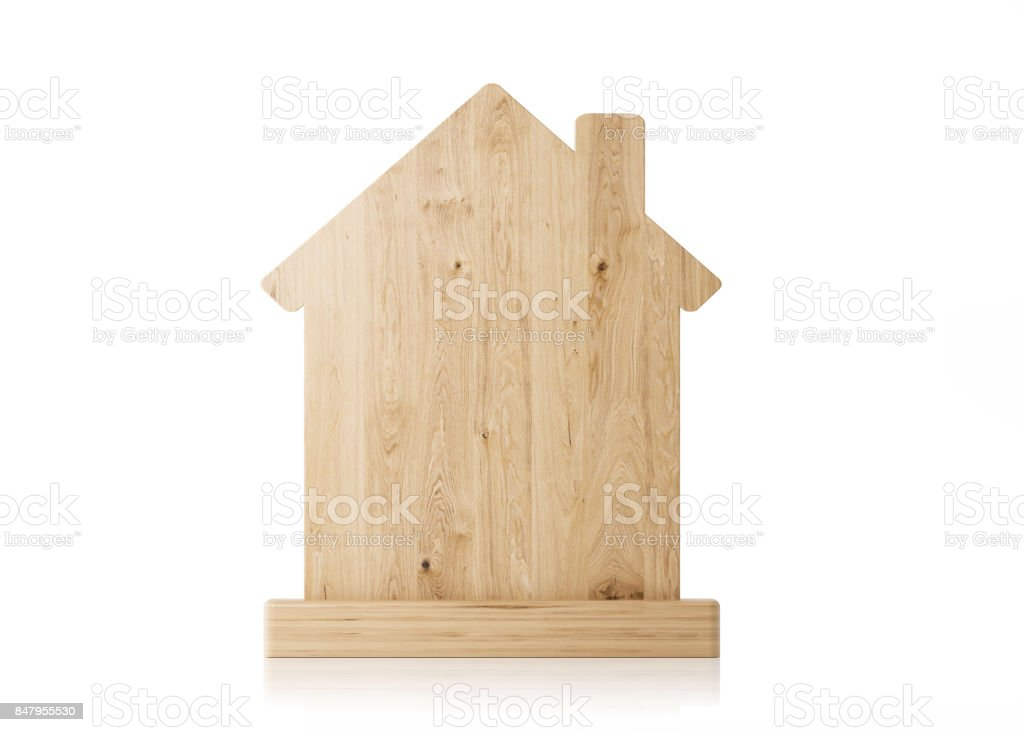 Home Icon Made of Wood Isolated on White Background stock photo