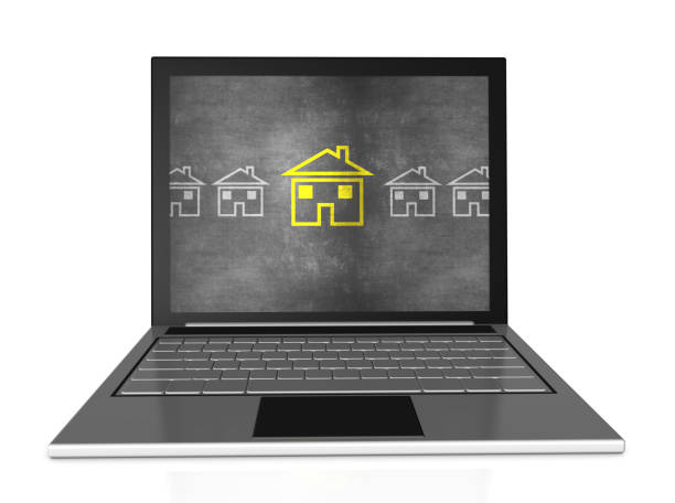 Home Icon with Chalk on Laptop stock photo