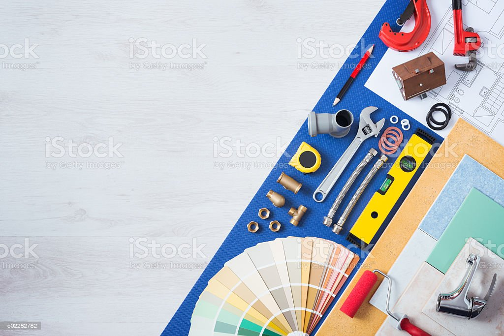 Home improvement and repair work table stock photo