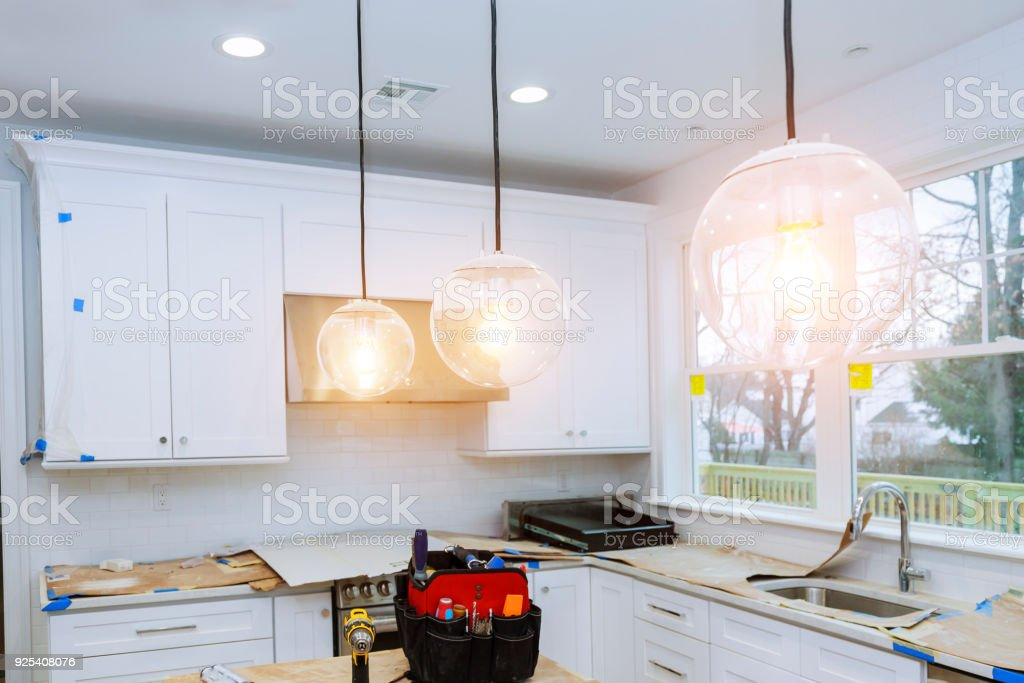 Home Improvement Kitchen Remodel worm's view installed in new kitchen stock photo