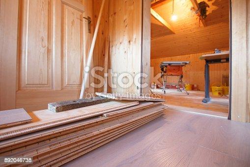 istock Home improvement, new parquet flooring 892046738