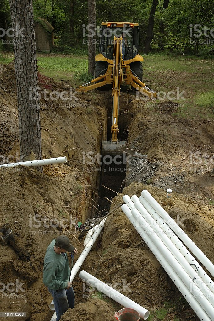 Home Improvement Septic Construction Workers royalty-free stock photo