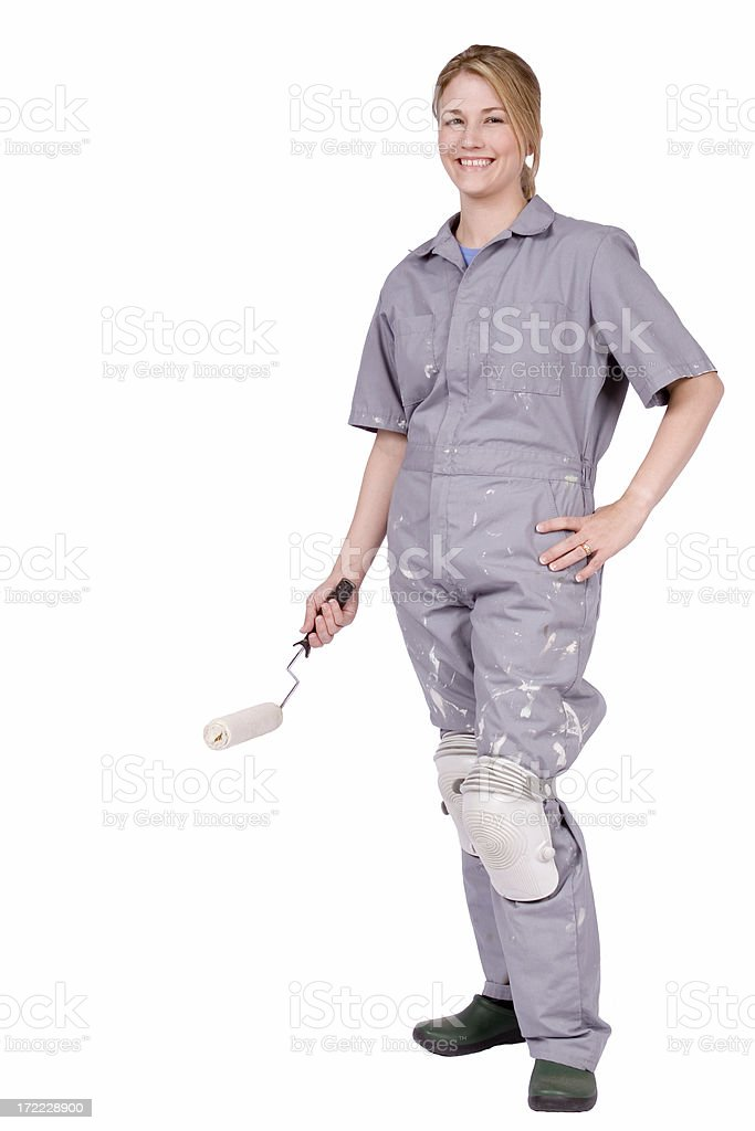Home Improvement - woman with paint roller stock photo