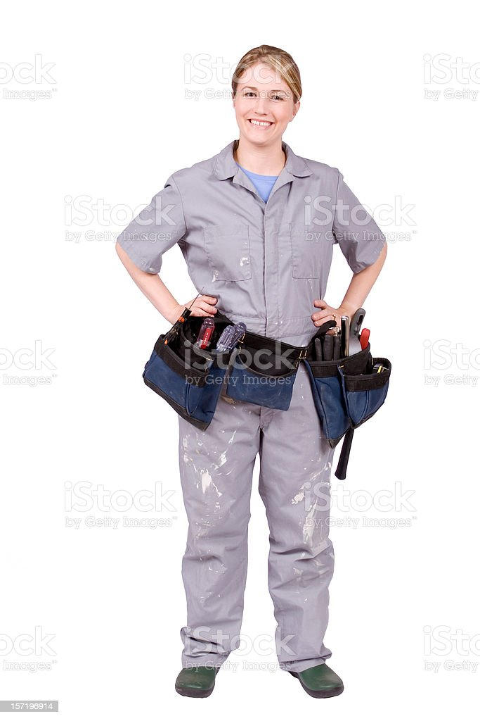 Home Improvement Woman with tool belt stock photo