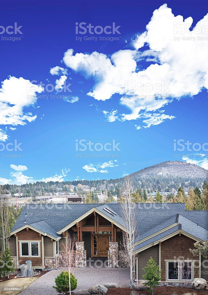 Home in Central Oregon pilote butte forground stock photo