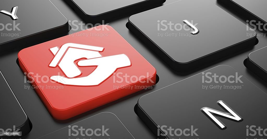 Home in Hand Icon on Red Keyboard Button. stock photo