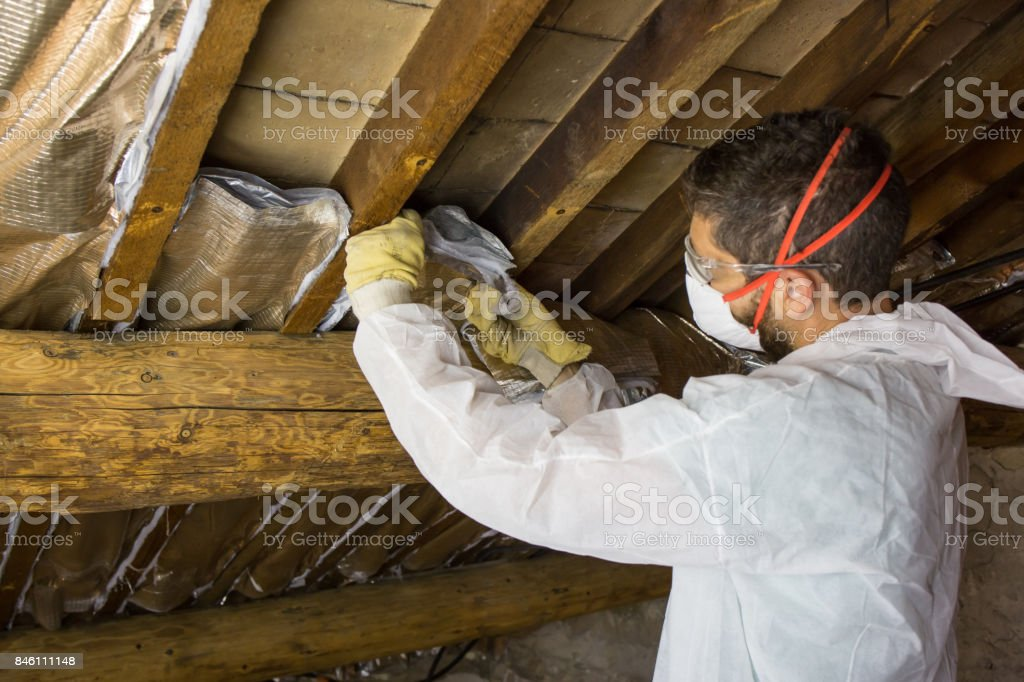 Home Insulation Work stock photo