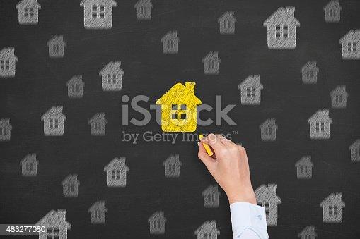 494997002 istock photo Home Insurance Concept on Blackboard 483277080
