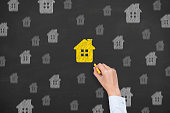 Home Insurance Concept on Blackboard