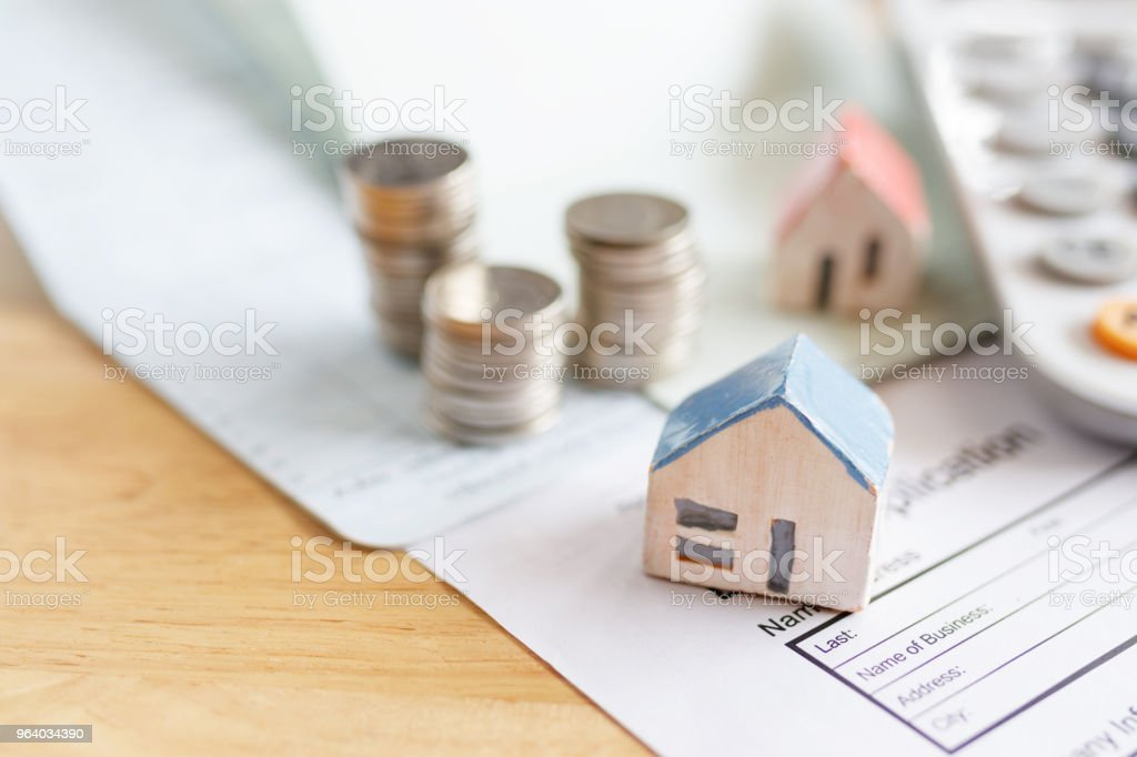 Home insurance form with money,passbook  and calculator. - Royalty-free Agreement Stock Photo