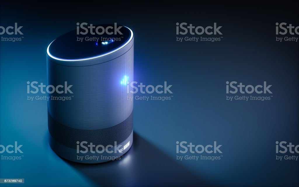 Home intelligent voice activated assistant. 3D rendering concept of hi tech futuristic artificial intelligence speech recognition technology. royalty-free stock photo