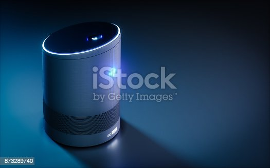istock Home intelligent voice activated assistant. 3D rendering concept of hi tech futuristic artificial intelligence speech recognition technology. 873289740