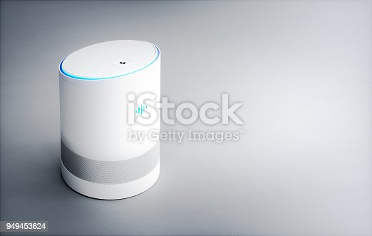 istock Home intelligent voice activated assistant. 3D rendering concept of hi tech futuristic artificial intelligence speech recognition technology. 949453624