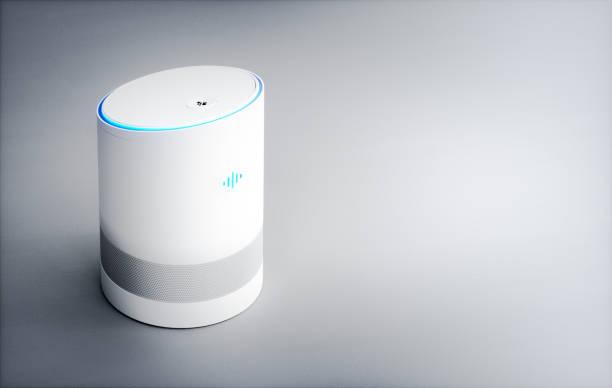Asistente de hogar inteligente de la voz activado. 3D rendering concepto de alta tecnología de reconocimiento de discurso tecnología futurista inteligencia artificial. - foto de stock