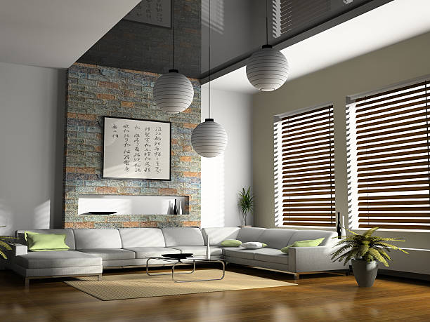 Home interior 3D rendering stock photo