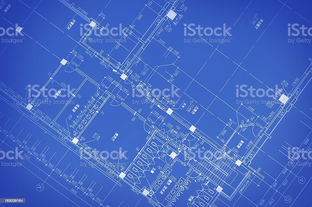 Home Interior Blueprint-Construction and Architecture Paperwork royalty-free stock photo