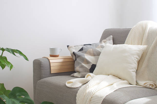 Home interior Cozy Living room Sofa Cushion Coffee mug Knitted plaid Monstera plant Room decor Scandinavian style Copy space Home interior Cozy Living room Sofa Cushion Coffee mug Knitted plaid Monstera plant Room decor Scandinavian style Copy space cozy stock pictures, royalty-free photos & images