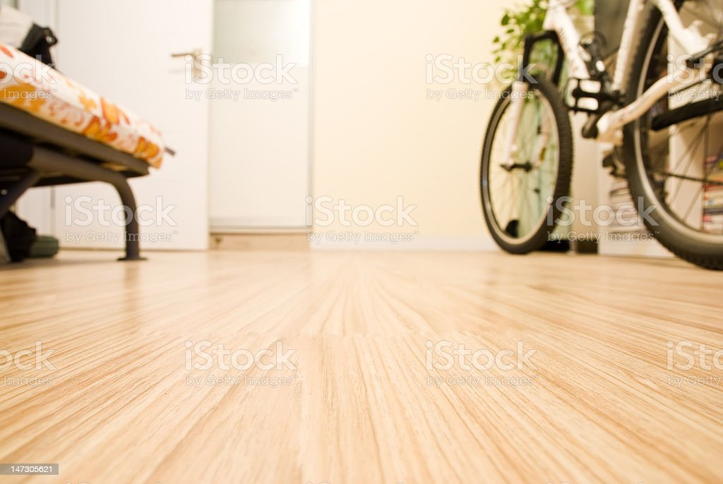 Home Interior - Domestic Room with Wooden Floor stock photo