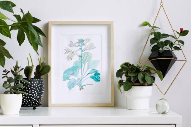 accueil intérieur floral affiche mock up avec cadre photo en bois vertical, beaucoup de plantes, cactus, accrochant la plante en pot géométrique sur fond de mur blanc. notion de plateau blanc. - camera sculpture photos et images de collection