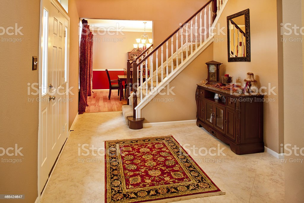 Home Interior: Foyer, Staircase Of Middle Class Home. Decorations, Furniture.  Royalty