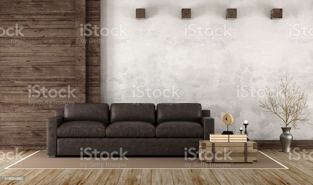 Home interior in rustic style stock photo