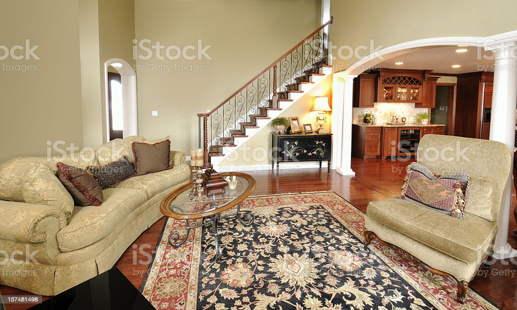 Home Interior Living Room, Persian Rug, Pillars, Staircase, Spacious, Open stock photo