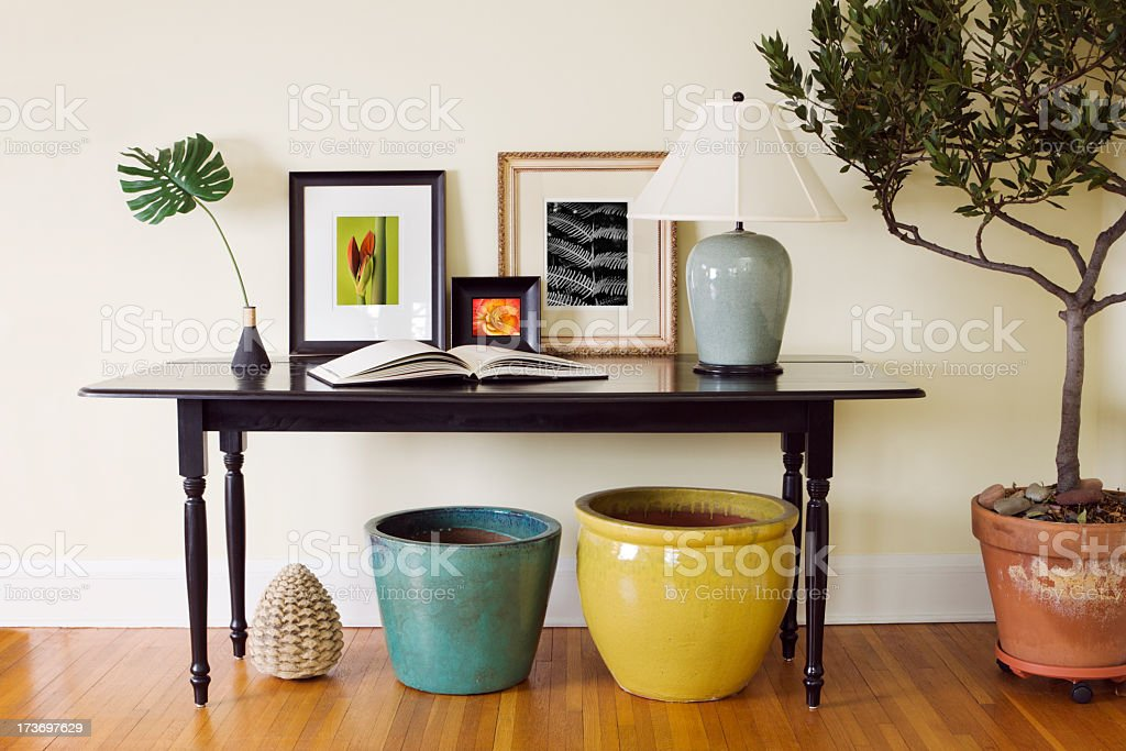 Home Interior Living Room Side Table Decorating Arrangement with Pots stock photo